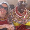 Jill in Samburu Kenya with women making manyata collection